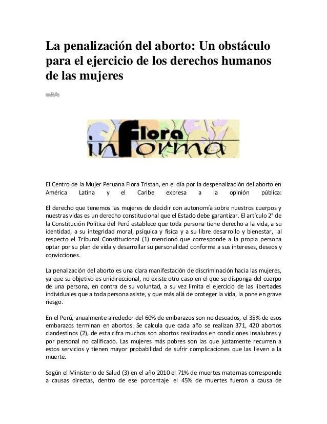 La penalización del aborto: Un obstáculo para el ejercicio de los derechos humanos de las mujeres  El Centro de la Mujer P...
