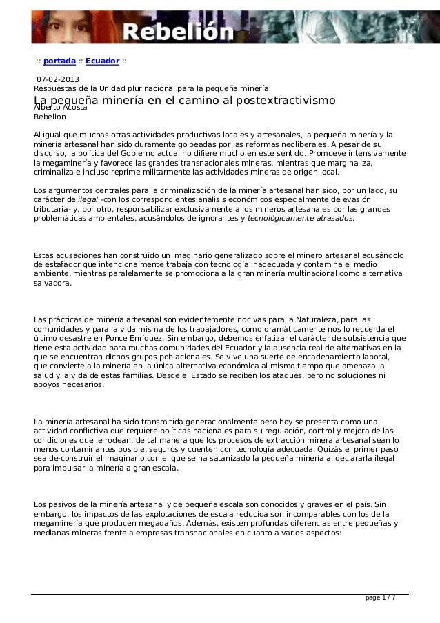 :: portada :: Ecuador :: 07-02-2013 Respuestas de la Unidad plurinacional para la pequeña minería La pequeña minería en el...