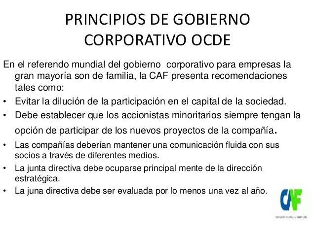 PRINCIPIOS DE GOBIERNO CORPORATIVO OCDE En el referendo mundial del gobierno corporativo para empresas la gran mayoría son...
