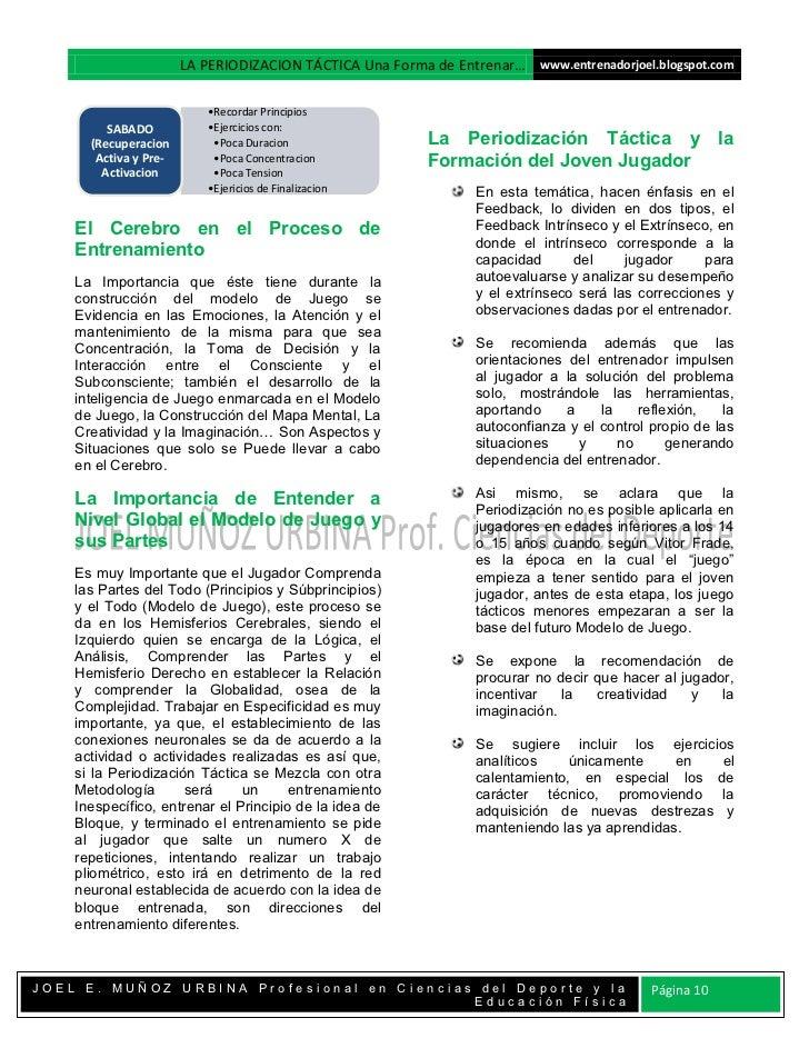 LA PERIODIZACION TÁCTICA Una Forma de Entrenar… www.entrenadorjoel.blogspot.com                          •Recordar Princip...
