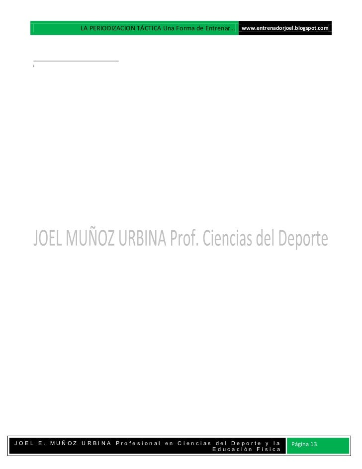 LA PERIODIZACION TÁCTICA Una Forma de Entrenar… www.entrenadorjoel.blogspot.com    iJOEL E. MUÑOZ URBINA Profesional en Ci...