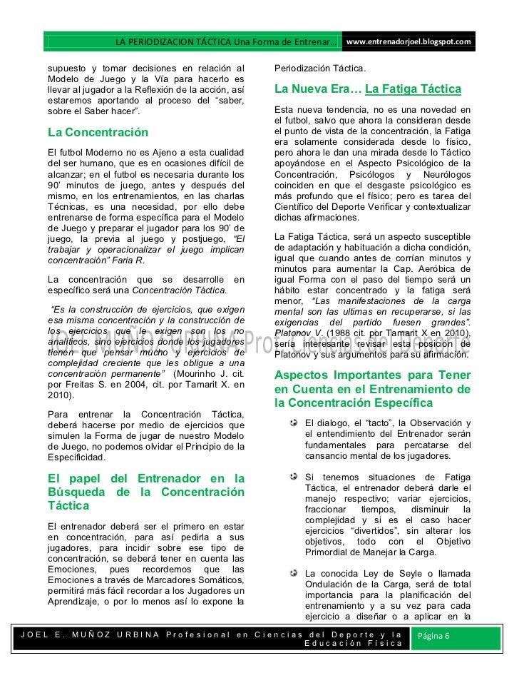 LA PERIODIZACION TÁCTICA Una Forma de Entrenar… www.entrenadorjoel.blogspot.com    supuesto y tomar decisiones en relación...
