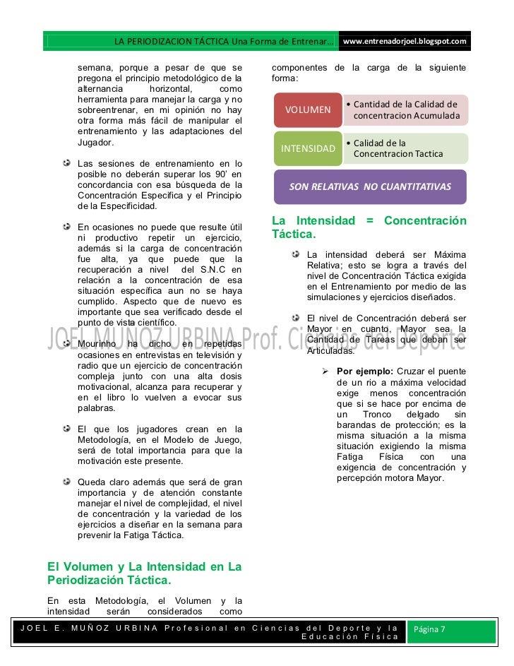 LA PERIODIZACION TÁCTICA Una Forma de Entrenar… www.entrenadorjoel.blogspot.com         semana, porque a pesar de que se  ...