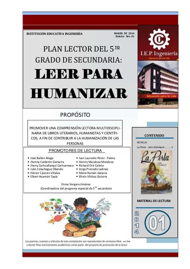PLANLECTORDEL5 GRADODESECUNDARIA: LEER PARA HUMANIZAR INSTITUCIÓNEDUCATIVAINGENIERÍA CONTENIDO NOVEL...
