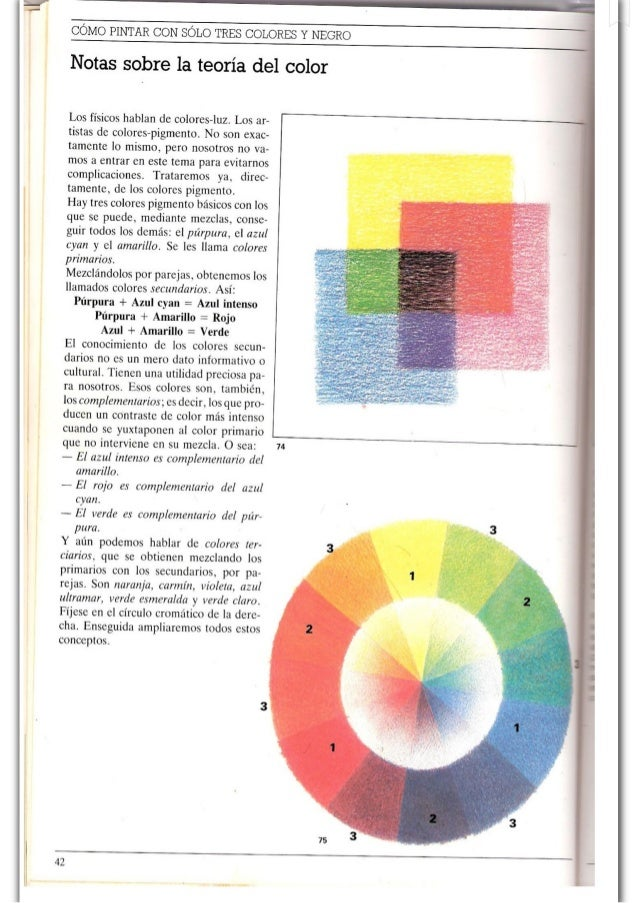 ¡l    COMO PINTAR CON SOLO TRES COLORES Y NEGRO    Notas sobre la teoría del color  Los físicos hablan de colores-luz.  Lo...