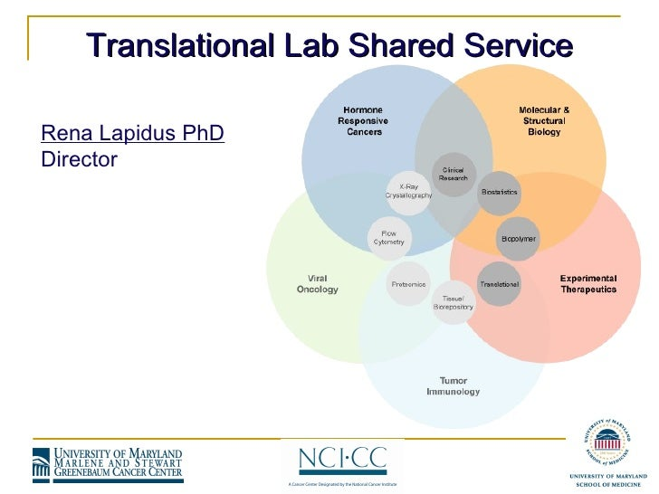 Rena Lapidus PhD Director Translational Lab Shared Service