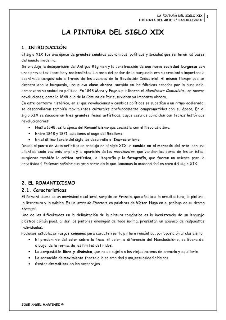 LA PINTURA DEL SIGLO XIX     1                                                                     HISTORIA DEL ARTE 2º BA...