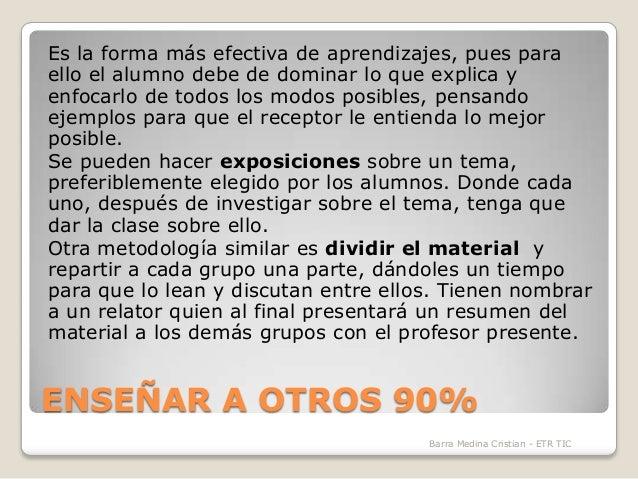 Es la forma más efectiva de aprendizajes, pues para ello el alumno debe de dominar lo que explica y enfocarlo de todos los...