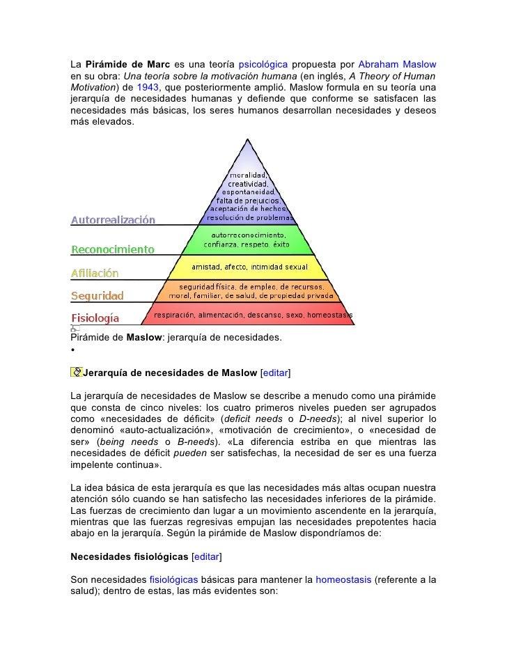 La Pirámide de Marc es una teoría psicológica propuesta por Abraham Maslow en su obra: Una teoría sobre la motivación huma...