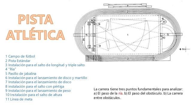 """1 Campo de fútbol 2 Pista Estándar 3 Instalación para el salto de longitud y triple salto 4 """"Ría"""" 5 Pasillo de jabalina 6 ..."""