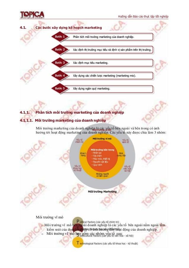 Hướng dẫn Báo cáo thực tập tốt nghiệp 4.1. Các bước xây dựng kế hoạch marketing 4.1.1. Phân tích môi trường marketing của ...