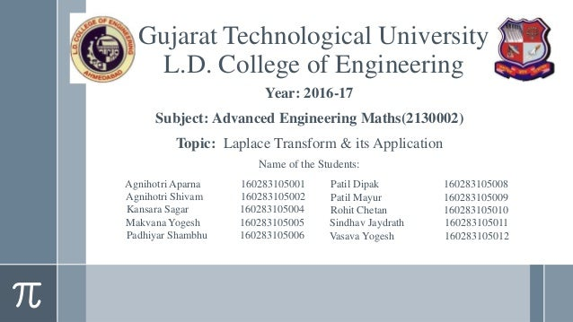 Year: 2016-17 Subject: Advanced Engineering Maths(2130002) Topic: Laplace Transform & its Application Name of the Students...