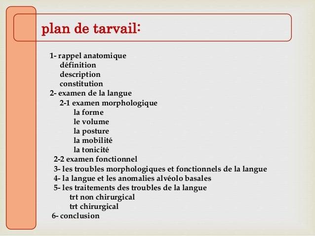 plan de tarvail: 1- rappel anatomique définition description constitution 2- examen de la langue 2-1 examen morphologique ...