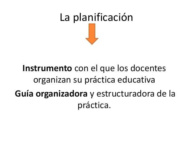 La planificación  Instrumento con el que los docentes  organizan su práctica educativa  Guía organizadora y estructuradora...