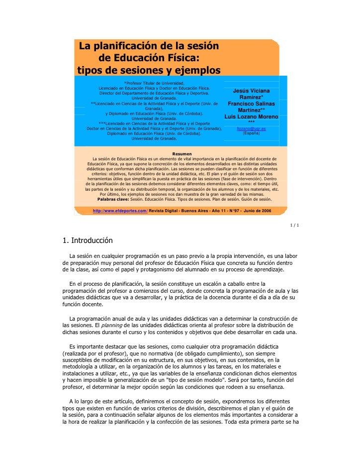 La planificación de la sesión           de Educación Física:       tipos de sesiones y ejemplos                           ...
