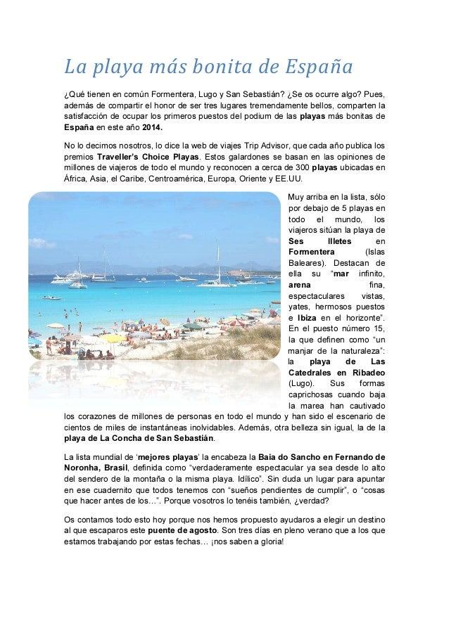 La playa más bonita de España ¿Qué tienen en común Formentera, además de compartir el honor de ser tres luga satisfacción ...
