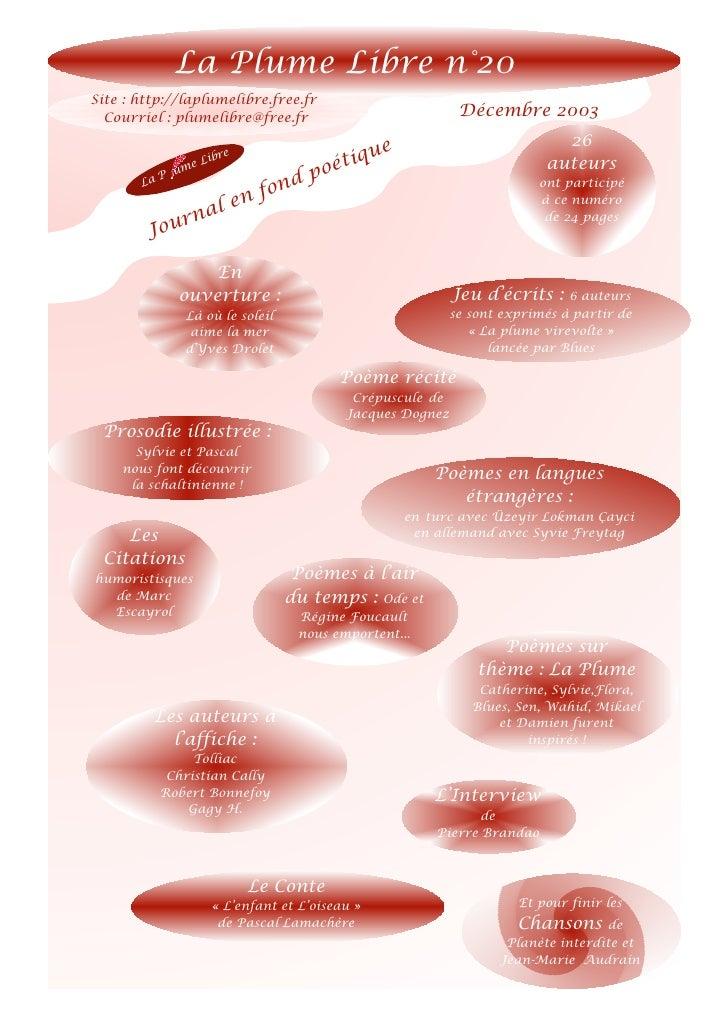 La Plume Libre n°20Site : http://laplumelibre.free.fr  Courriel : plumelibre@free.fr                             Décembre ...