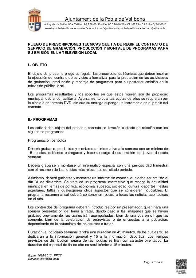 Expte. 1095/2013 PPTT Servicio televisión local Página 1 de 4 Ajuntament de la Pobla de Vallbona Avinguda de Colón, 93  T...