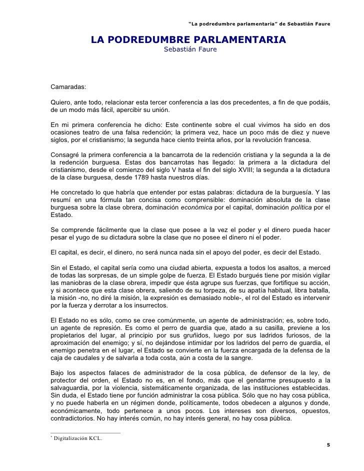 """""""La podredumbre parlamentaria"""" de Sebastián Faure                     LA PODREDUMBRE PARLAMENTARIA*                       ..."""