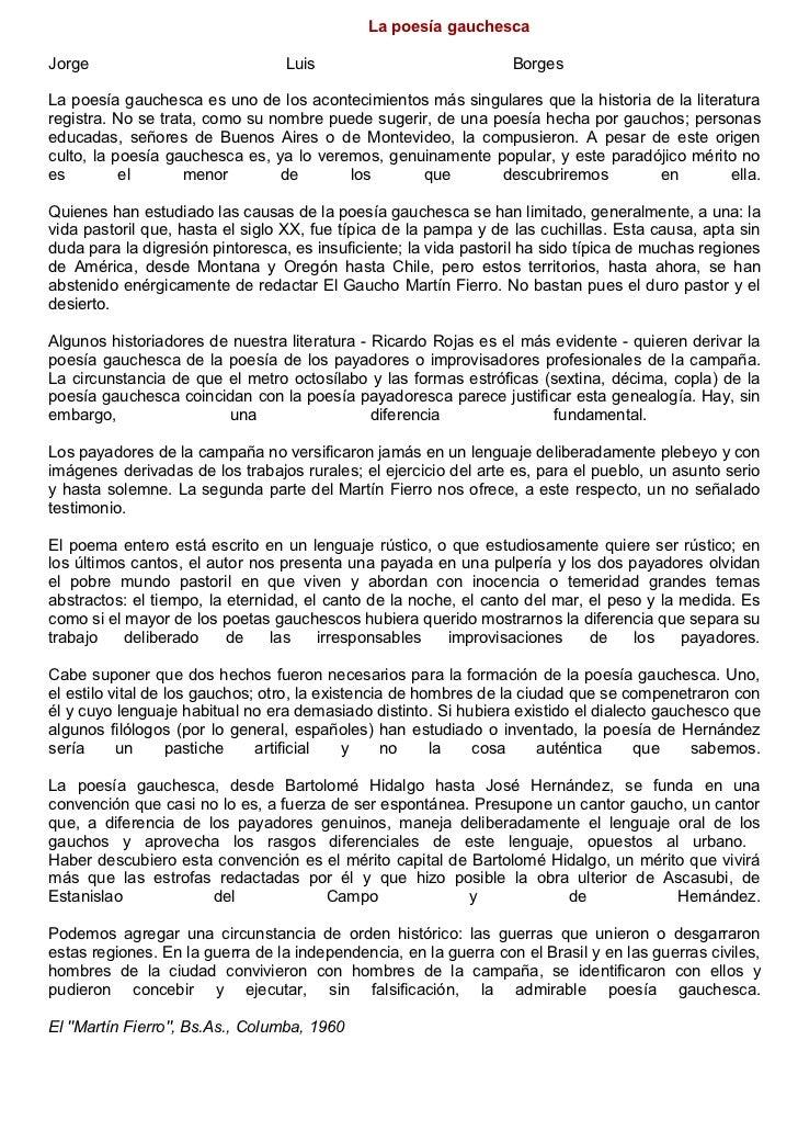 La poesía gauchescaJorge                            Luis                             BorgesLa poesía gauchesca es uno de l...