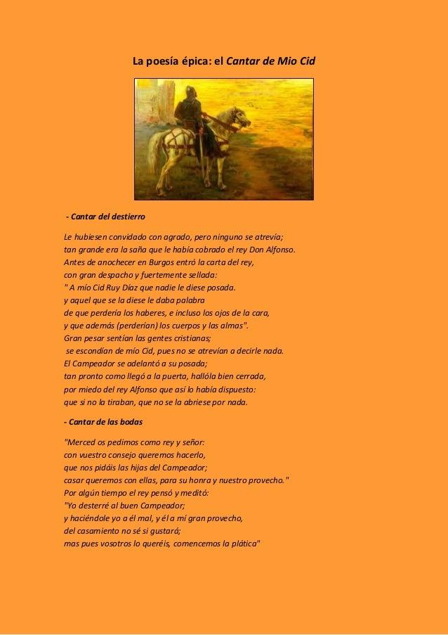 La Poesía épica Cantar Del Mio Cid
