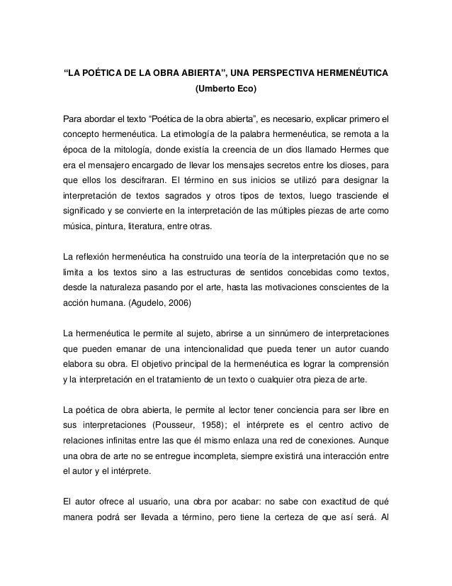 """""""LA POÉTICA DE LA OBRA ABIERTA"""", UNA PERSPECTIVA HERMENÉUTICA (Umberto Eco) Para abordar el texto """"Poética de la obra abie..."""