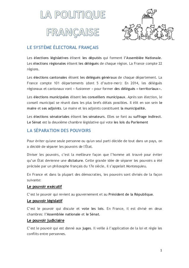 1 LE SYSTÈME ÉLECTORAL FRANÇAIS Les élections législatives élisent les députés qui forment l'Assemblée Nationale. Les élec...