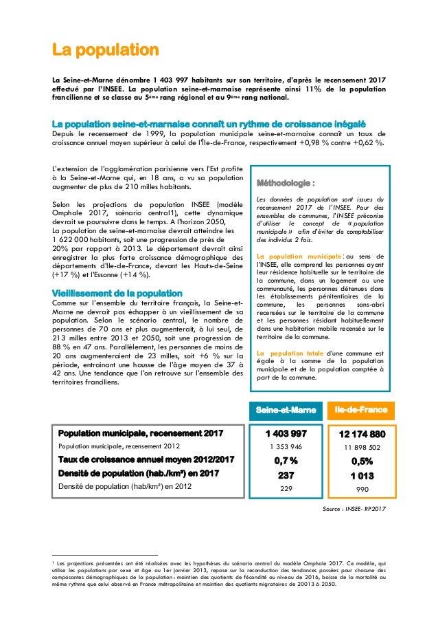 La population La Seine-et-Marne dénombre 1 403 997 habitants sur son territoire, d'après le recensement 2017 effectué par ...