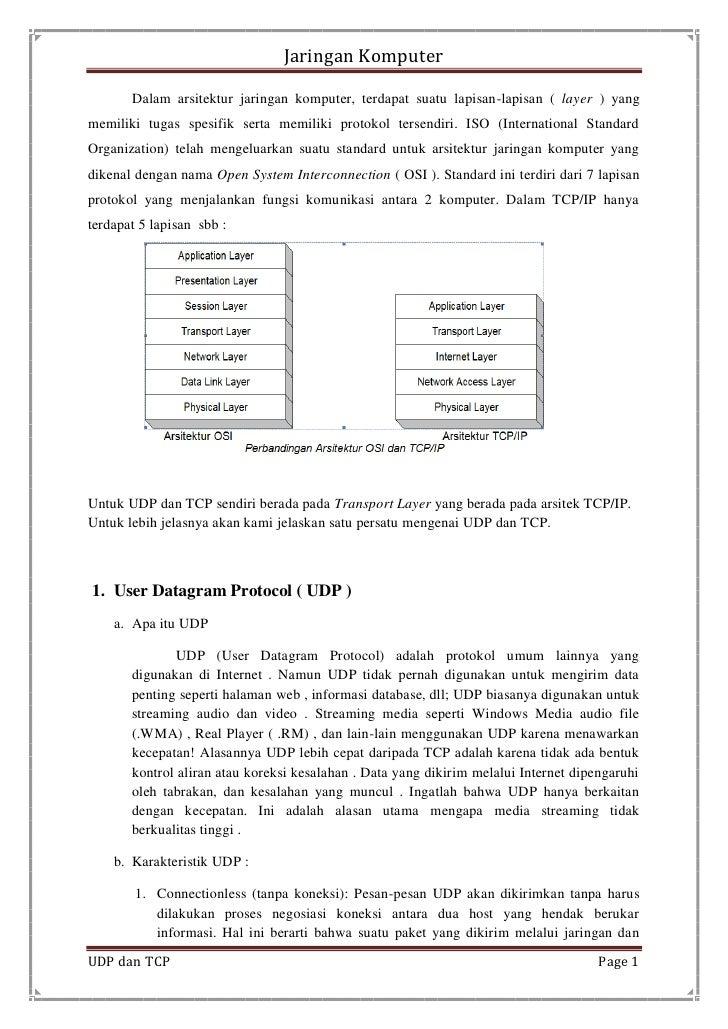 Jaringan Komputer       Dalam arsitektur jaringan komputer, terdapat suatu lapisan-lapisan ( layer ) yangmemiliki tugas sp...