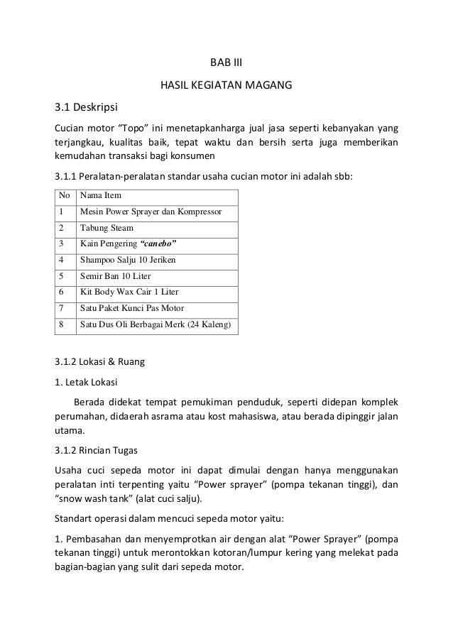 Laporan Pelaksanaan Magang Program Mahasiswa Wirausaha Usaha Cucian M