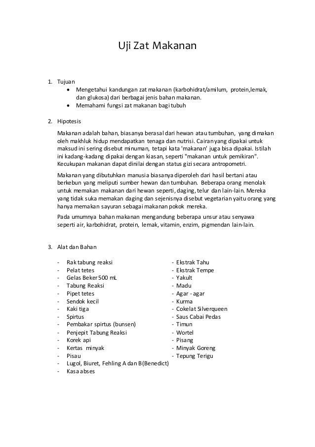 Laporan Praktikum Uji Makanan Karbohidrat Lemak Dan Protein Le Bon Usage