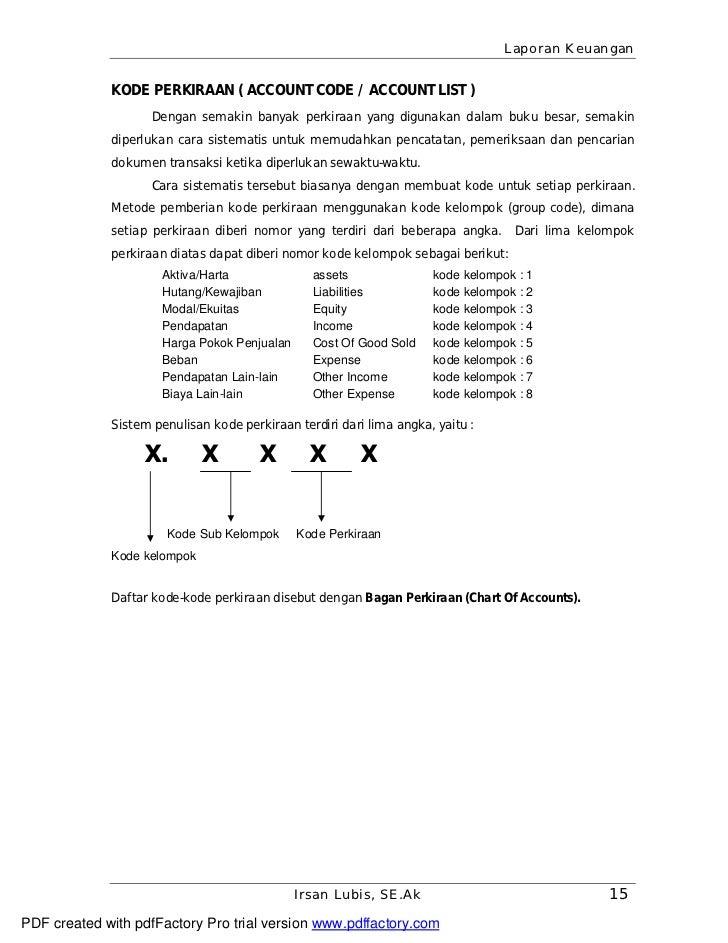 Laporan Keuangan             KODE PERKIRAAN ( ACCOUNT CODE / ACCOUNT LIST )                    Dengan semakin banyak perki...