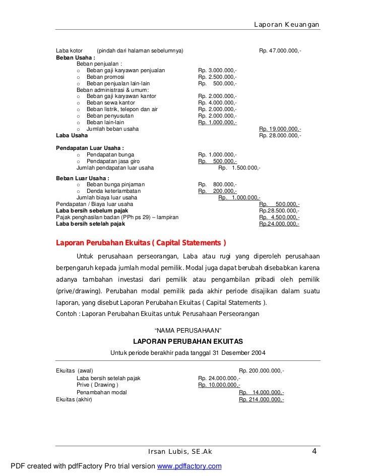 Laporan Keuangan             Laba kotor    (pindah dari halaman sebelumnya)                           Rp. 47.000.000,-    ...