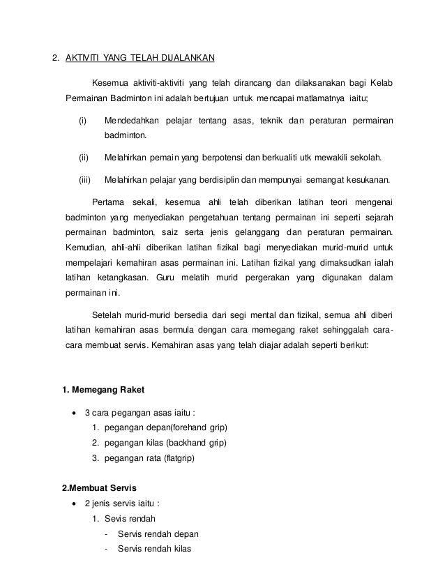 Laporan Tahunan Kelab Badminton 2014 Sksm