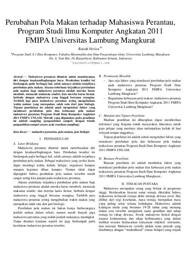 Perubahan Pola Makan terhadap Mahasiswa Perantau, Program Studi Ilmu Komputer Angkatan 2011 FMIPA Universitas Lambung Mang...