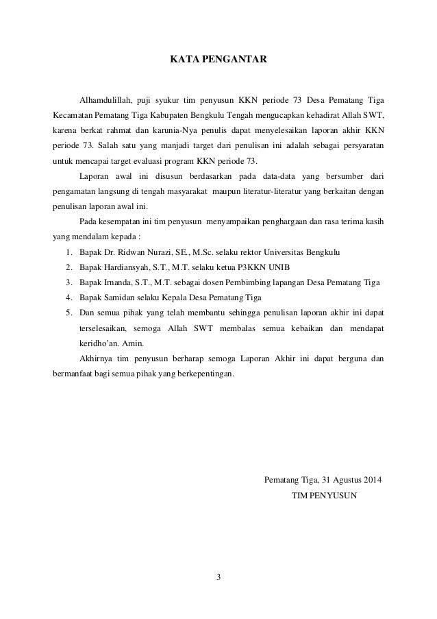 Laporan Akhir Kelompok Mahasiswa Kkn Unib Periode 73 Tahun 2014