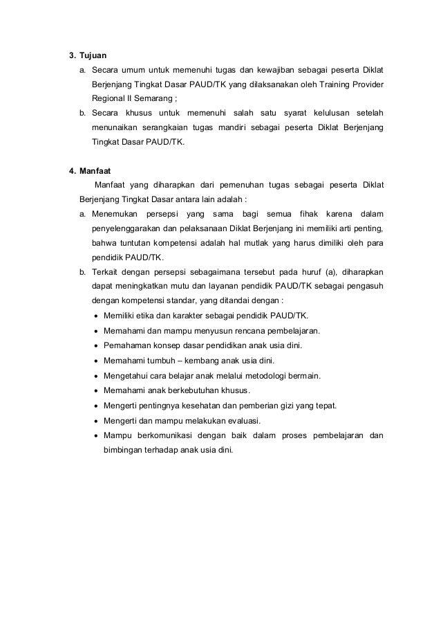 Contoh Laporan Tugas Mandiri Diklat Dasar Paud 2018 Pdf Kumpulan Contoh Laporan