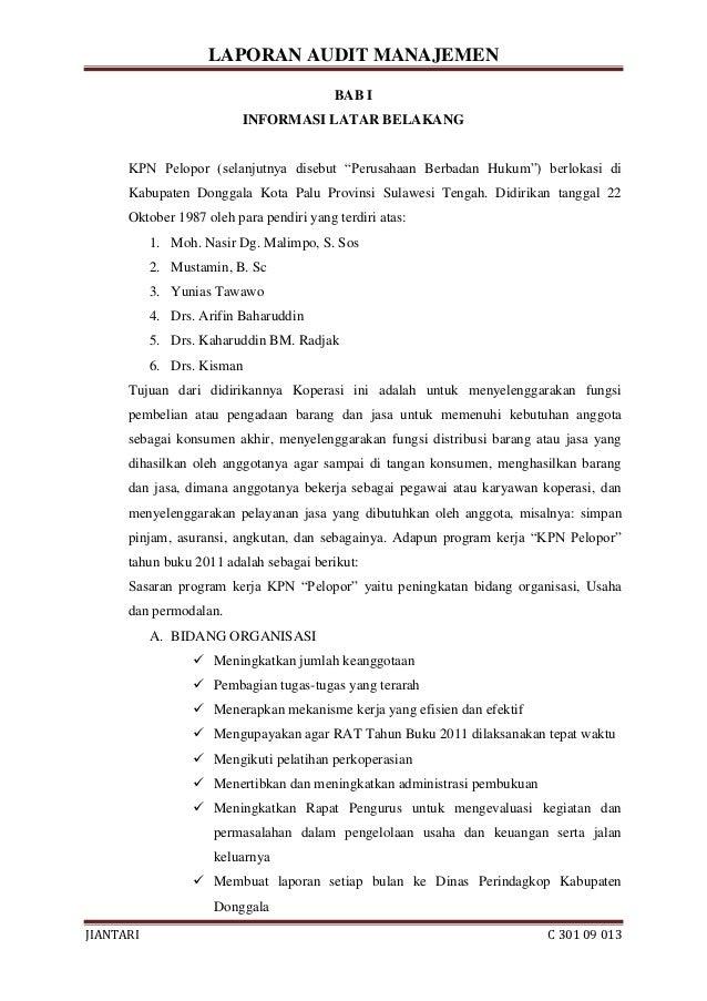 Laporan Audit Manajemen Pada Kpn Pelopor Donggala Jiantari C 301 09