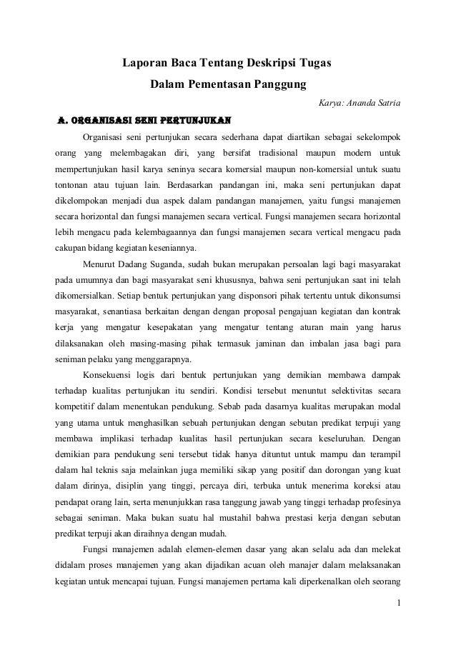 Laporan Baca Tentang Deskripsi Tugas Bhs Indonesia New Assigment
