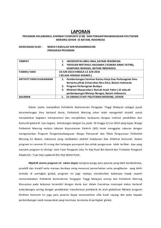 LAPORAN PROGRAMKOLABORASI,KHIDMATKOMUNITI(CSR)DANPENGANTARABANGSAANPOLITEKNIK MERSINGJOHORDIBATAM,INDONESIA...