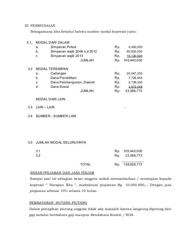 Contoh Laporan Rat Koperasi Simpan Pinjam Doc Kumpulan Contoh Laporan