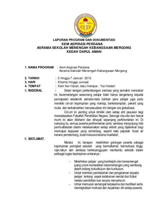 Laporan Dokumentasi Program Asrama Smkm