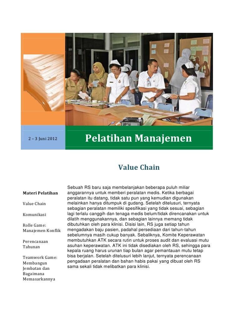 2 – 3 Juni 2012           Pelatihan Manajemen                                            Value Chain                    Se...