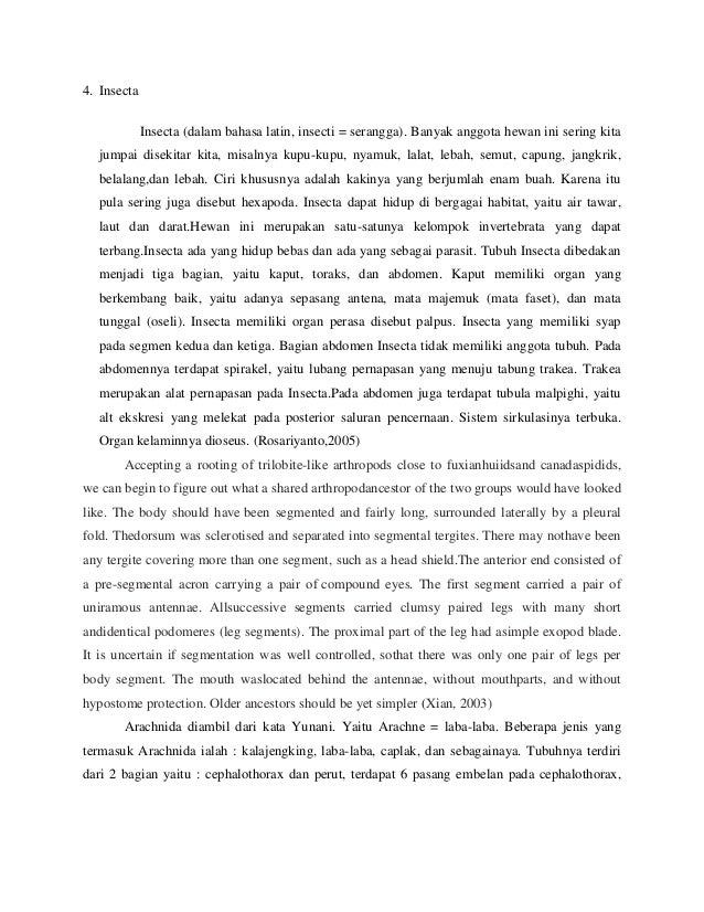 Laporan Praktikum Sistematika Hewan Invertebrata Quot Classis Arachnida D