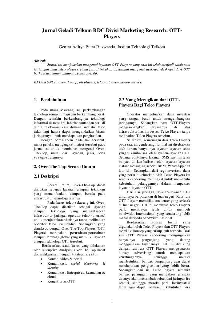 Jurnal Geladi Telkom RDC Divisi Marketing Research: OTT-                             Players                 Gentra Aditya...
