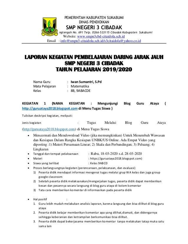 PEMERINTAH KABUPATEN SUKABUMI DINAS PENDIDIKAN SMP NEGERI 3 CIBADAK JL. Raya Karangtengah No. 691 Telp. 0266-533115 Cibada...