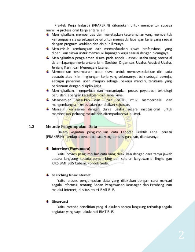 Laporan Kerja Industri Perbankan Syariah Smk Soedirman 2