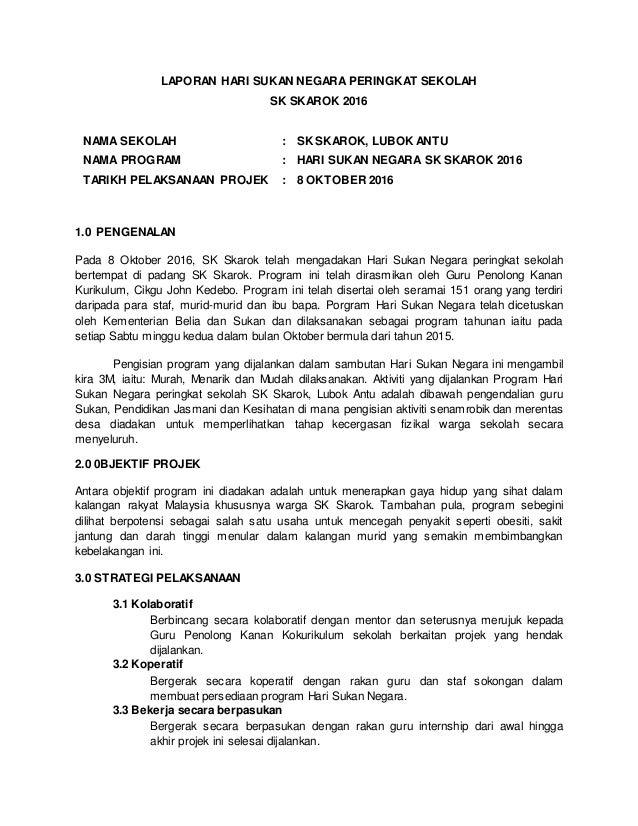 Laporan Hari Sukan Negara Sk Skarok Oktober 2016