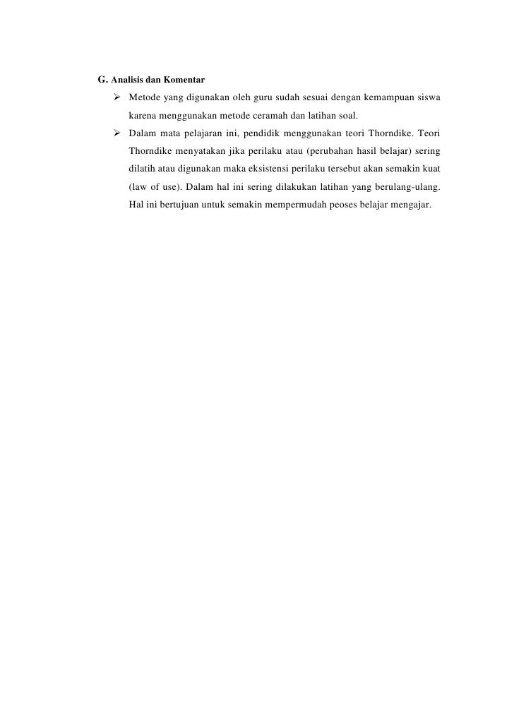 Laporan Hasil Analisis Rencana Pelaksanaan Pembelajaran