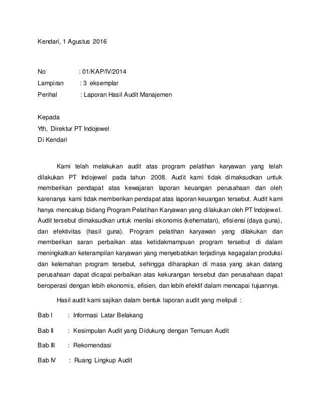 Contoh Laporan Hasil Audit Manajemen Perusahaan